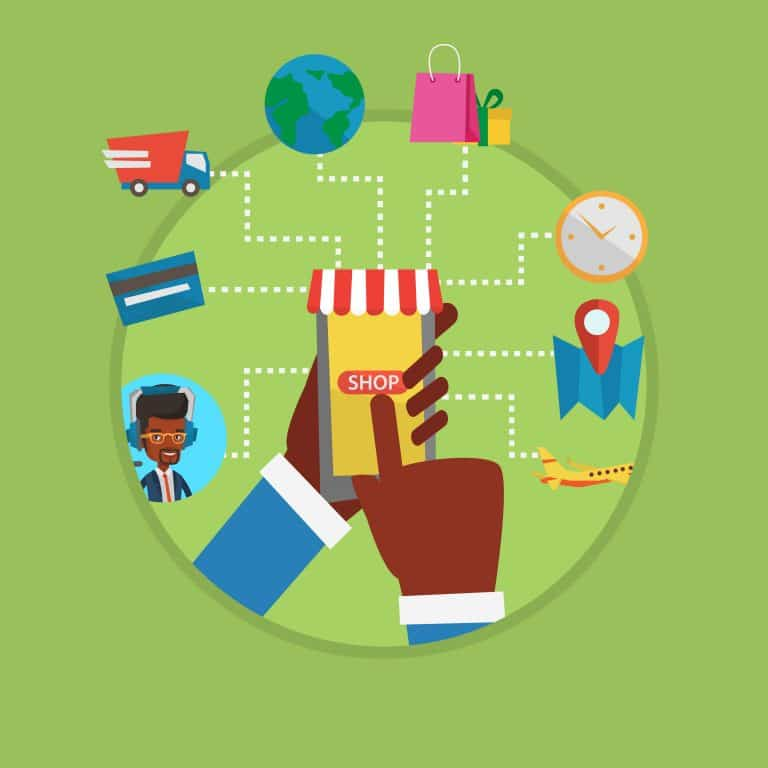 Online shopping vector flat design illustration
