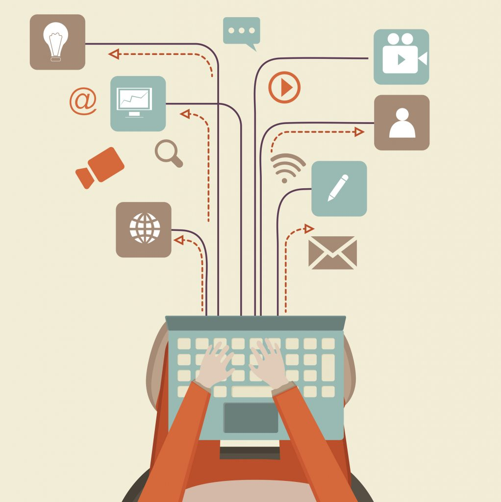 Communication and networking concept with illustration of human hand working on laptop and different social media symbols